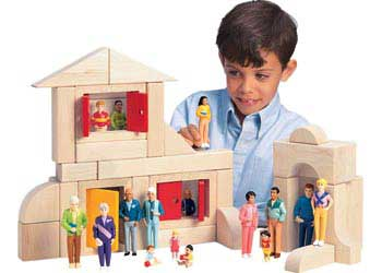 Caucasian Family Block Play Set