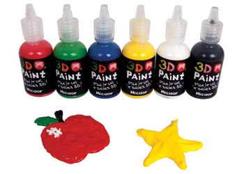 3D Paint in Squeezable Bottles – Set of 6 x 30ml