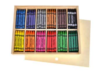 Wooden Box of 144 Wax Crayons