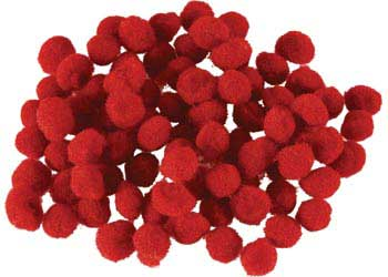 Pom Poms Red  7mm – Pack of 100