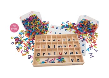 alphabet tray with upper lower case letters magnetic letters words