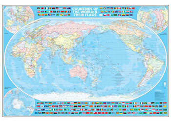 World Map Australia Centred 1 38m X