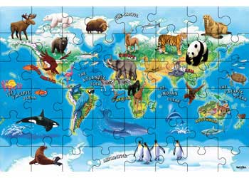 Animals Of The World Map Puzzle 48 Piece Maps