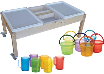 water play table wooden sand amp water table with pouring set mta catalogue 28933