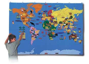 Giant World Felt Map With Bag 170x240cm Maps