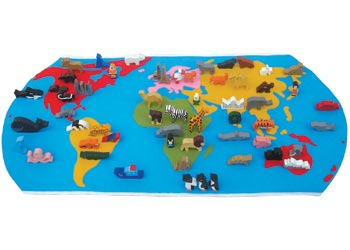 World Map With Wooden Figures 60 Pieces Diversity Of Culture Heritage Background And Tradition